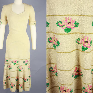 1940s FLORAL KNIT Dress | Vintage 40s Cream Wool Sweater Dress with Pink, Green, & Gold Floral Details | small-medium by RelicVintageSF