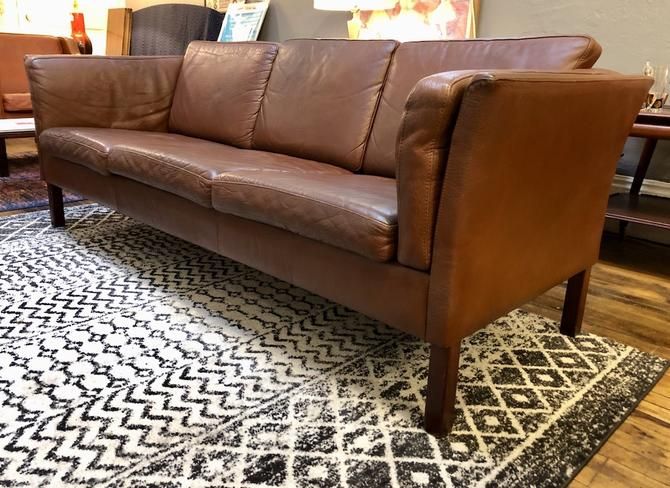Danish Modern Brown Leather 3 Seater Sofa -1960's