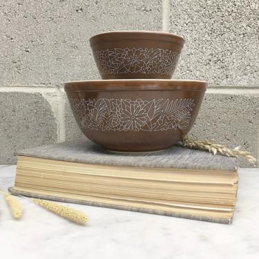 Vintage Pyrex Mixing Bowls Retro 1970s Woodland + Ceramic + Flower Print + Set of 2 + Nesting Bowls + Kitchen Decor and Cookware by RetrospectVintage215