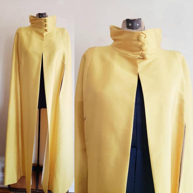 1960s Yellow Silk Satin Cape / 60s Evening Dressy Opera Cloak / Smerelda / S by RareJuleVintage