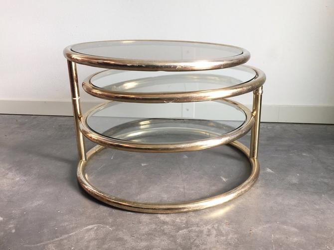 vintage mid century modern Milo Baughman style brass + glass coffee table.
