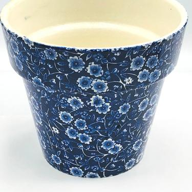 """Vintage Calico Blue and White-Royal Crownford Staffordshire England-Flower Pot- 6.5"""" X 6"""" Great Condition by JoAnntiques"""