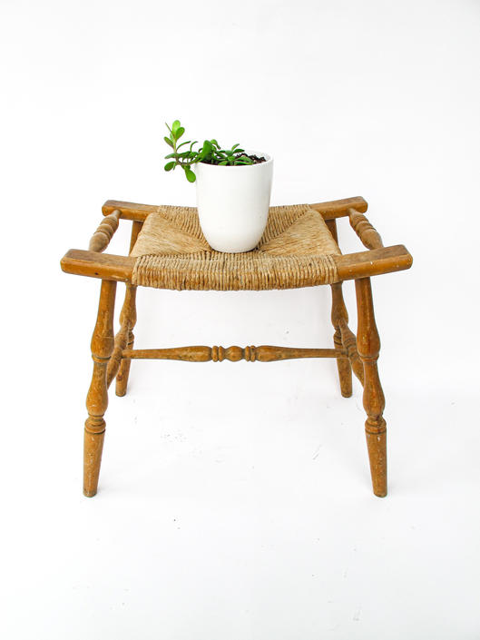 Vintage Primitive Curved Woven rush Bench with Wood Frame by PortlandRevibe
