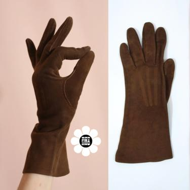Fab Vintage 60s 70s Brown Suede Gloves by RETMOD