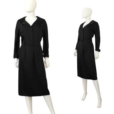 1950s Black Wiggle Dress - 1950s Black Cocktail Dress - 1950s Wiggle Dress - 1950s Black Dress - 1950s LBD - 50s Dress | Size Medium by VeraciousVintageCo