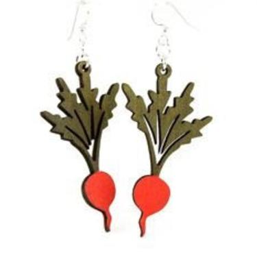 Radishes that hang on your Ear - Perfect for any green thumb - Reforested Wood by GreenTreeJewelry