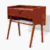 Randers Danish Teak Compact Nightstand / Accent Table with 'Pontiac' Pulls