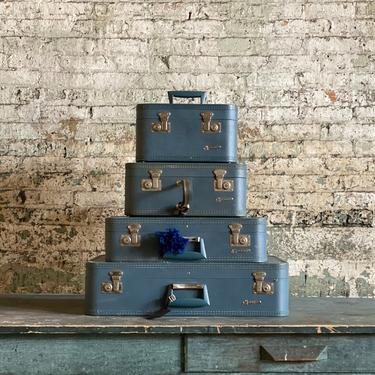 Set of Vintage Monarch Suitcases Luggage and Travel Decor by NorthGroveAntiques
