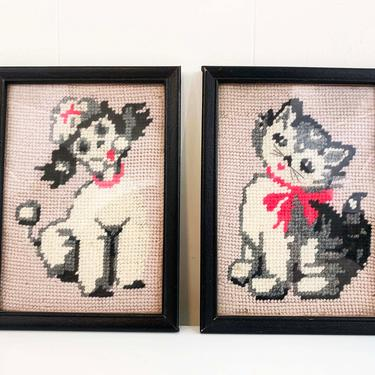 True Vintage Needlepoint Cat and Dog Framed 1970s 70s Frame Kitsch Retro Decor Kitchen Wall Hanging Kitschy Nursery Kids Room Kawaii Poodle by CheckEngineVintage
