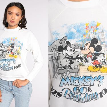 Mickey Mouse Sweatshirt -- 80s Disneyland Sweater 1988 60th Birthday Shirt Disney Raglan Sleeve Shirt Cartoon Crewneck Vintage Small S by ShopExile
