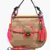 Coach - Tan & Coral Leather Color Blocked Saddle Crossbody