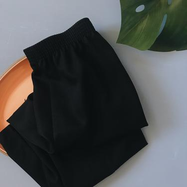 1980s Black High Waist Pleated Crop Trouser by FolkandCup