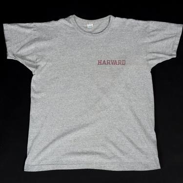 80s Harvard University Champion T Shirt - Extra Large   Vintage Heather Gray Graphic Collegiate Tee by FlyingAppleVintage