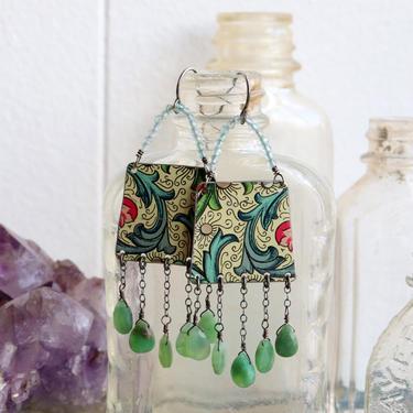 Vintage Tin & Chrysoprase Earrings by nonasuch