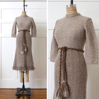 vintage 1960s knit wool dress • boucle belted dress by Dalton with fringe tie belt • wiggle fit sweater dress by LivingThreadsVintage