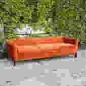 1960's Mid Century Modern Chippendale Sofa in Burnt Orange Velvet