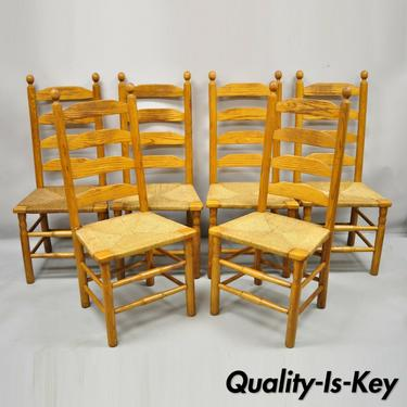 Vintage Oak Wood Rush Seat Tall Ladderback Dining Room Rustic Chairs - Set of 6