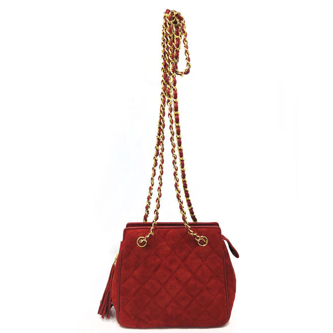 Chanel Red Suede Purse