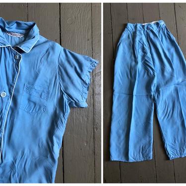 vintage 1950s powder blue pajamas, pajama set, pajama dressing, '40s '50s pajama set, 1950s pajamas by AgeofMint