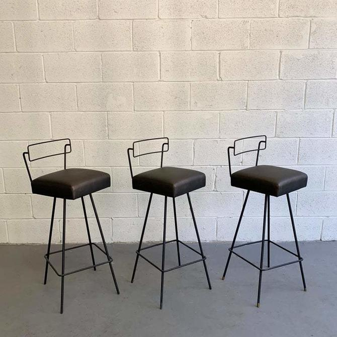Mid-Century Modern Wrought Iron Tony Paul Style Swivel Bar Stools