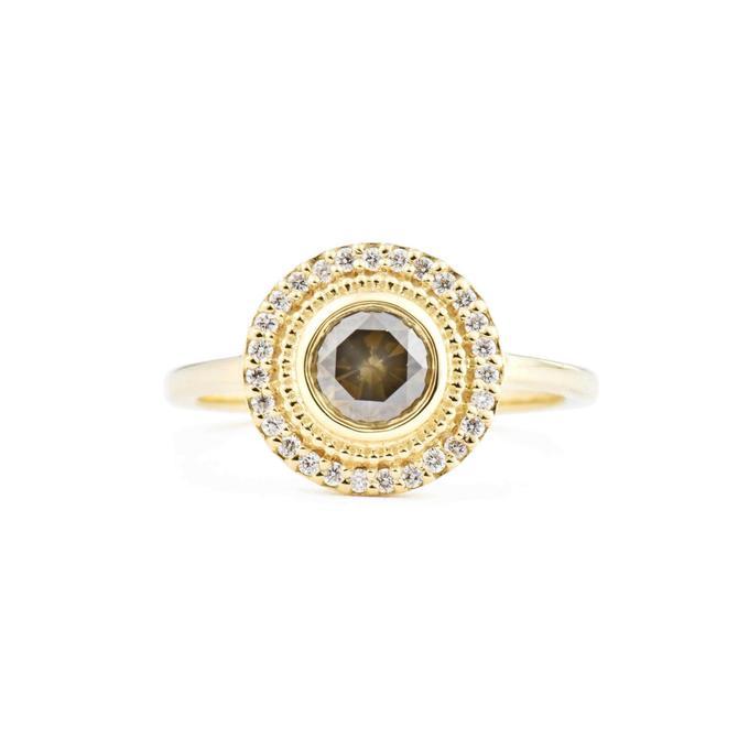 Selena Rose Cut Brown Diamond Engagement Ring