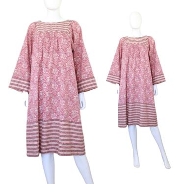 1970s Indian Cotton Dress - 70s Pink Paisley Dress - 70s Fall Print Dress - 1970s Peasant Dress - 1970s Boho Dress - 70s Dress | Size Large by VeraciousVintageCo