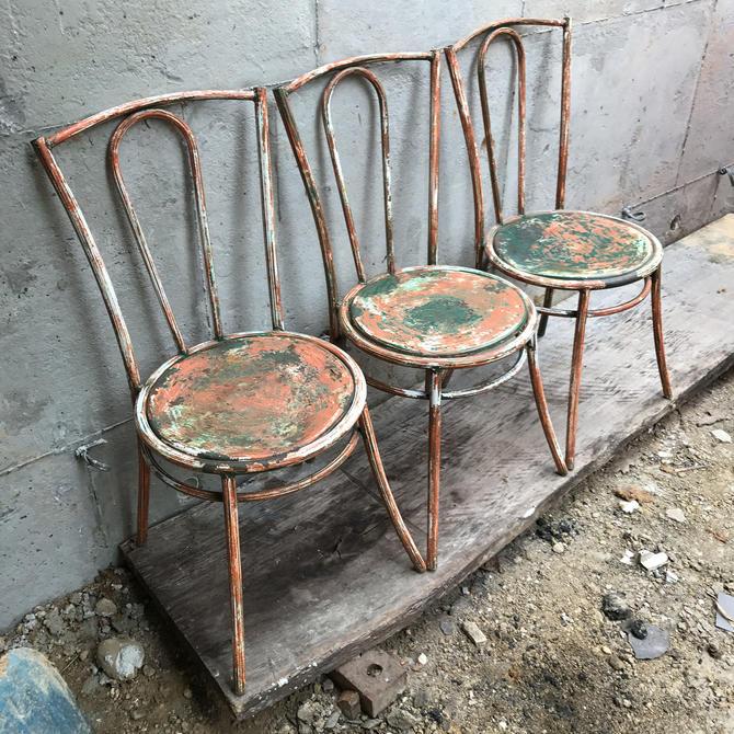 Set Of 3 Art Deco French Vintage Modernist Metal Bistro Chair Mid Century Prouve