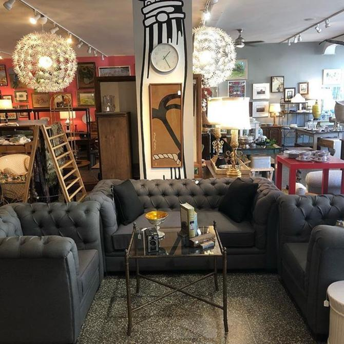 Grey tufted sofa and chairs! Sofa :$695, Chairs $325 each!