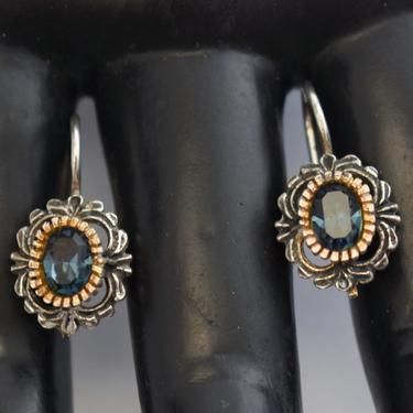 80's Renaissance style sterling vermeil rhinestone rigid dangles, HMH Italy 925 silver faux London blue topaz bling earrings by BetseysBeauties
