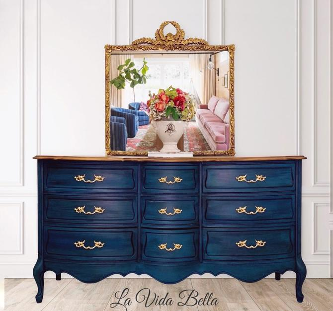 French Country Sideboard, Buffet, Blue, Vintage, Hand Painted, Console, Antique by LaVidaBellaDesign