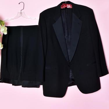 """DIOR Men's Christian Dior Black Tuxedo Suit Monsieur Jacket Blazer & Pants, Vintage, Designer Formal Evening Suit 46"""" Chest by Boutique369"""