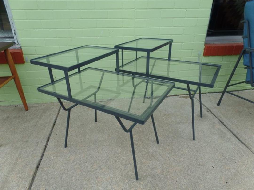 Pair Or Mid Century Modern Metal Frame Side Tables For