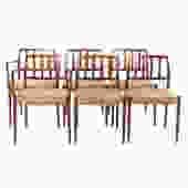 Six Danish Rosewood J.L. Moller Dining Chairs
