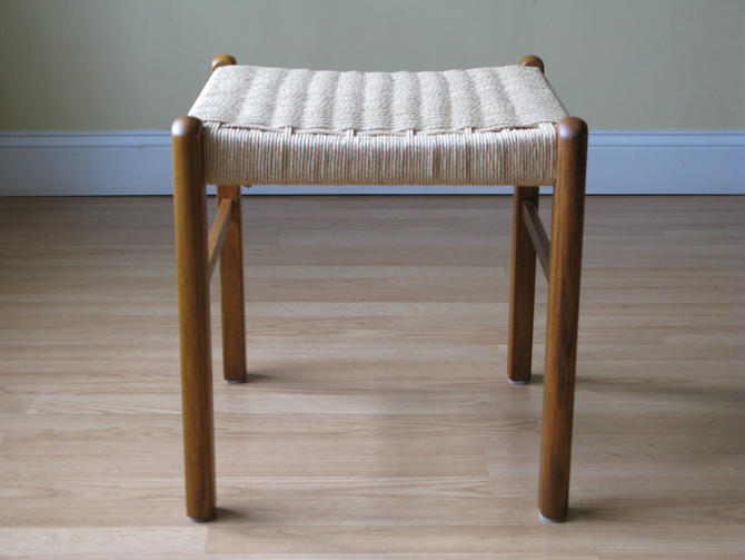 Danish Teak and paper cord Stool / Ottoman by ASISisNOTgoodENOUGH