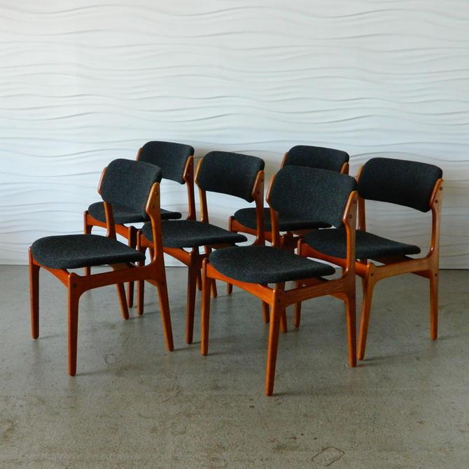 HA-C8355 Six Erik Buch Danish Teak Dining Chairs Maharam Fabric