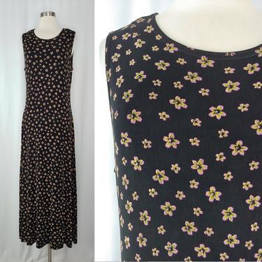 Vintage 2000 Y2K Medium Black Acetate Sleeveless Maxi Dress - Slinky Floral Print Sheath Dress by JanetandJaneVintage