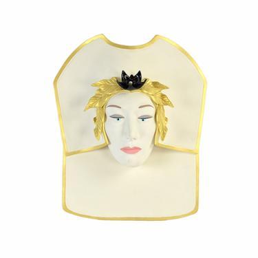1980's Ceramic Relief Wall Sculpture Women's Face with Head Dress Artist Signed by PrairielandArt
