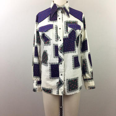Vintage 70s CALICO Patchwork Print Western Shirt Pearl Snap Ladies M by FlashbackATX