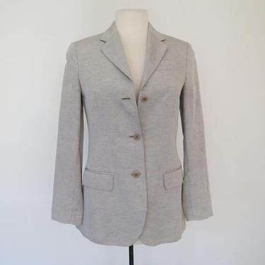 1970s or 80s italian grey linen 1970s fitted blazer by flutterandecho