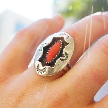 Vintage Native American Silver & Red Coral Ring, Hammered Silver Face With Oxidized Cut-Out, Marquise Gemstone In Jagged Bezel, Size 8 US by shopGoodsVintage