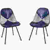 Eames Wire Chairs Herman Miller Venice, Ca. Original Blue Bikini Seat Covers by HearthsideHome