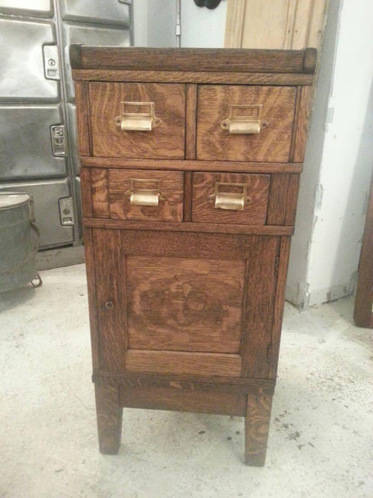 Vintage industrial 5 piece oak stackable storage cabinet by StateStreetSalvage