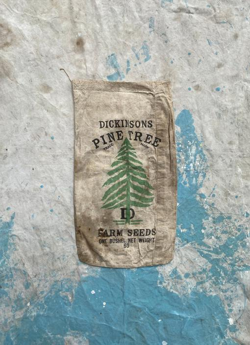 Dickinsons 60 lbs Pine Tree Farm Seed Sack Evergreen Rustic Decor by NorthGroveAntiques