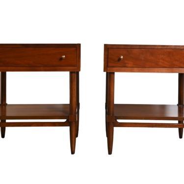 Walnut Nightstands McCobb Style Pulls United Furniture Mid Century Modern by HearthsideHome