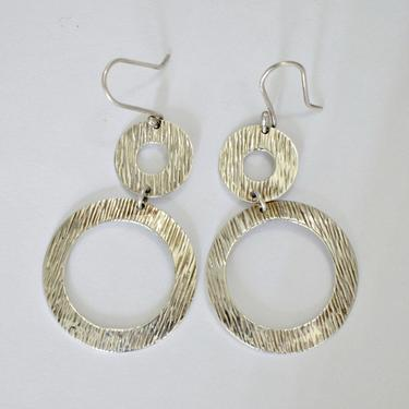 70's Amparo Taxco sterling mod open circles swinging hippie dangles, big textured Mexico 925 silver funky geometric go go boho earrings by BetseysBeauties