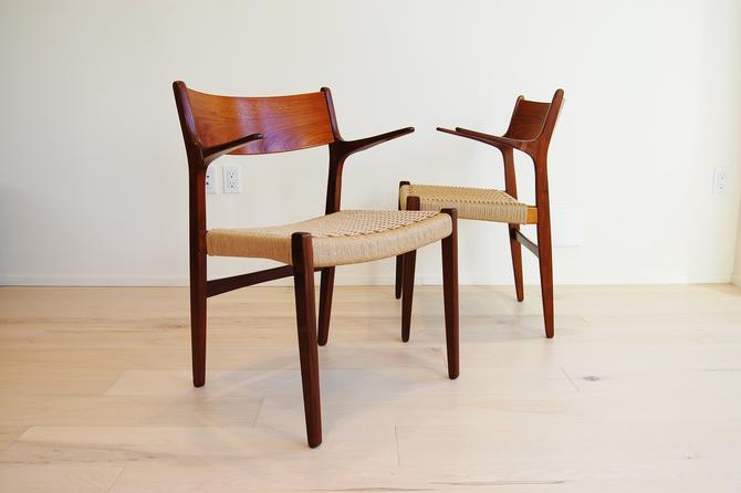 Pair of Danish Modern Teak and Afromosia Armchairs with New Paper Cord Seats by MidCentury55
