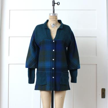 handmade womens plaid coat • Pendleton wool & hand knit accents • bell sleeve sweater jacket in blue and green by LivingThreadsVintage