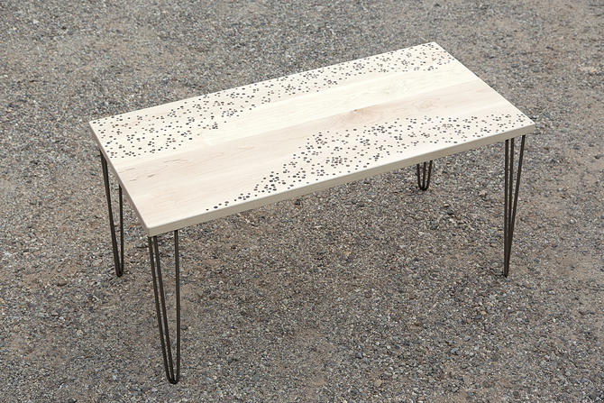 Bosque Dotted Dining Table // by Kyle D'Auria // MCM Polka Dot Hairpin Legs by kyledauria
