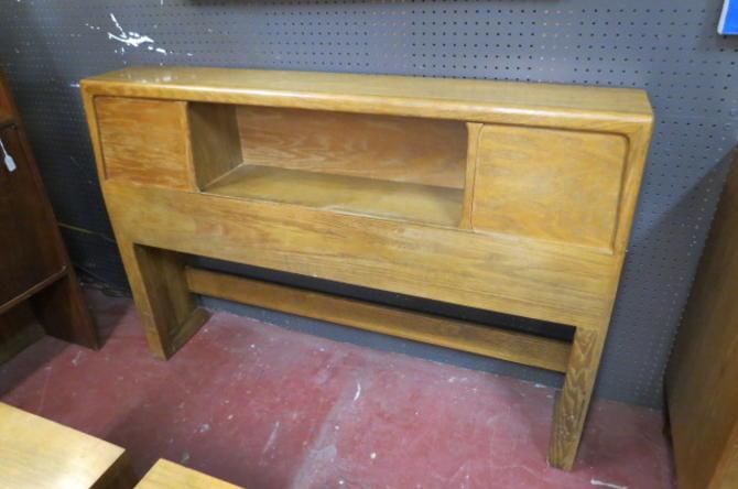 Vintage Mid century Ash wood full size headboard