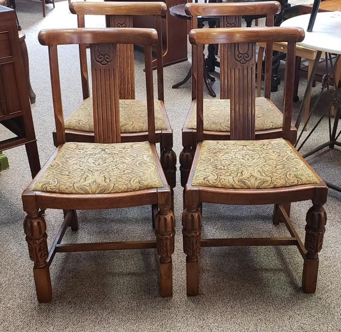 Item #R104B Set of Four English Oak Art Deco Dining Chairs c.1940s